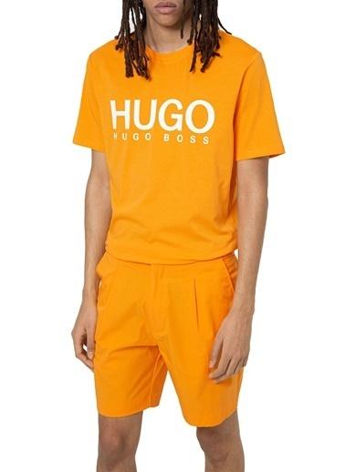Hugo Boss  % 100 Pamuklu Bisiklet Yaka T Shirt Erkek  50447980 826 Oranj